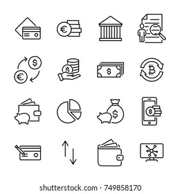 Set of money thin line icons. High quality pictograms of finance. Modern outline style icons collection.