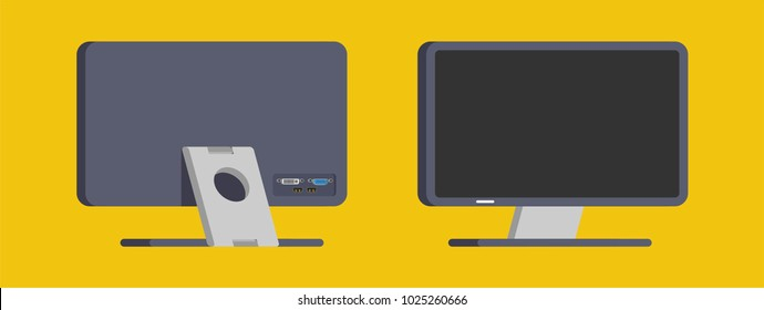 set of monitor front view and back view in flat design style. office property in flat design. electronic device (monitor) in modern flat design style