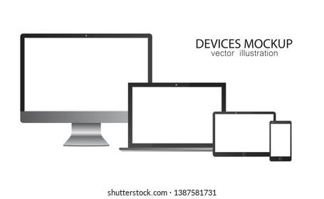 Set of monitor, tablet, laptop, smartphone. Vector illustration in realistic design.