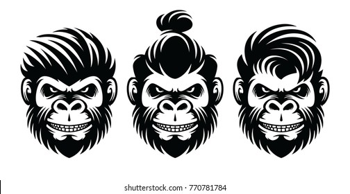 set monkey barbershop hairstyle, haircut illustration