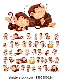 Set of monkey character illustration