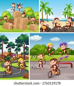 Set of monkey in different background illustration