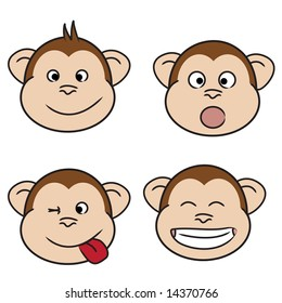 Set of monkey faces, friendly, surprised, naughty and laughing
