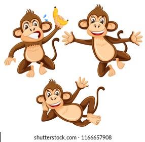 A set of monkey on white background illustration