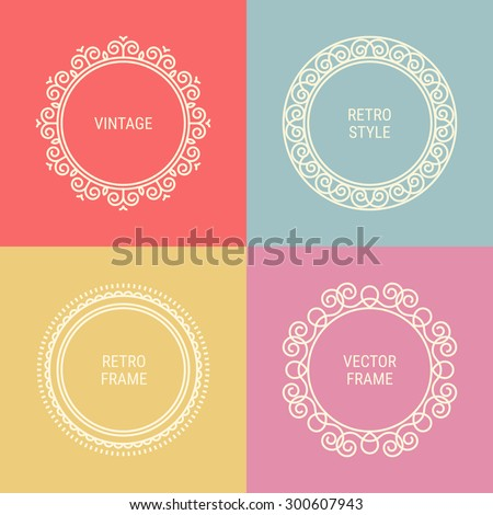 b89a6d2dded3 Set Mono Line Vintage Frames On Stock Vector (Royalty Free ...