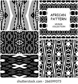 Set of monochrome African Ethnic original seamless patterns. Vector backgrounds collection can be used for wallpaper, pattern fills, web page background, surface textures. seamless background