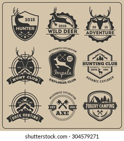 Set of monochrome animal hunting and adventure badge design for emblem logo, label design, insignia, sticker    Vector illustration resize able and all types use free font