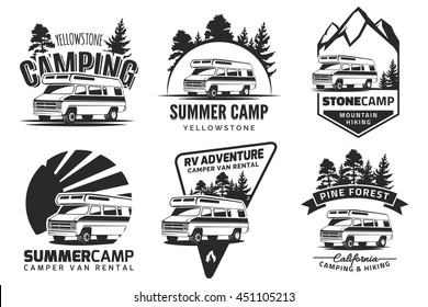 Set of monochrome camper van car logo, emblems and badges isolated on white background. Recreational vehicle and camping design elements.