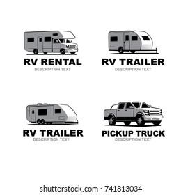 Set of monochrome camper van car logo. Recreational vehicle and camping design elements. Vector illustration.