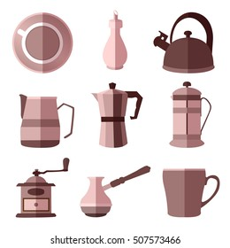 Set of monochrome coffee flat icons with long shadows on white background vector illustration