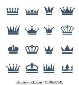 Set of monochrome crowns. Illustrations for luxury badges. Vector crown for king, royal luxury vintage crown for prince or emperor