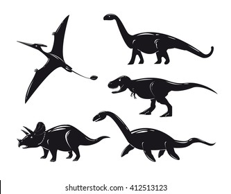 Set of monochrome dinosaurs isolated on white background. Vector illustration.