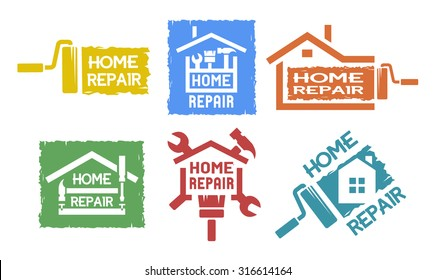 A Set Of Monochrome Emblems And Labels On The Topic Of Home Repair.