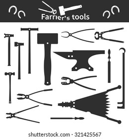Set of monochrome farrier`s tools icons and elements for your design. Vector illustration.