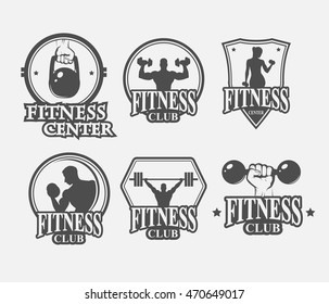 set of monochrome fitnes emblems, labels, badges, logo and designed elements