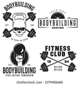 Set of monochrome fitness emblems, labels, badges, logos and designed elements. Vintage gym logo templates. Vector illustrations.