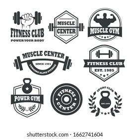 Set of monochrome fitness emblems, labels, badges, logos and designed elements.
