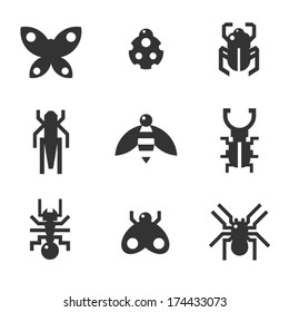 A set of monochrome flat insect bug icons, including ladybird