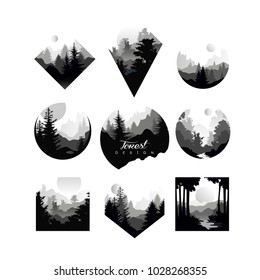 Set of monochrome geometric logos with wild coniferous forests. Natural landscapes with silhouettes of pine or fir trees. Eco or tourist concept. Flat vector design