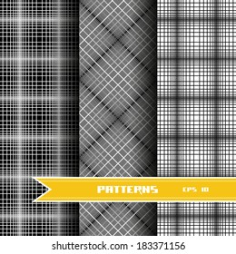 Set of monochrome geometric seamless patterns. Vector checkered backgrounds collection for print, web