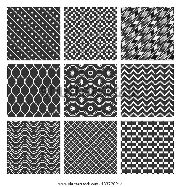 Set of monochrome geometric seamless patterns textures