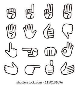 set of monochrome hand sign / vector eps10 illustration