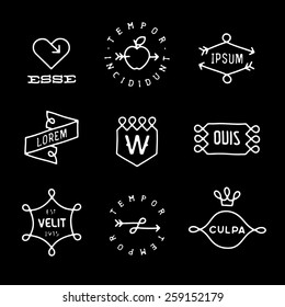 set monochrome hipster line vintage label, logo, badge for your business or t-shirt print with arrow, crown, heart, apple, ribbon, shield