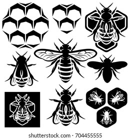 Set of monochrome honey emblems and design elements. Honeycombs, bees silhouettes.