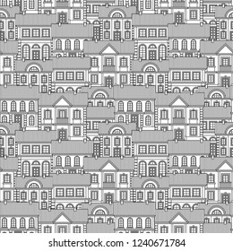 Set of Monochrome houses. Flat style Vector Seamless Pattern.
