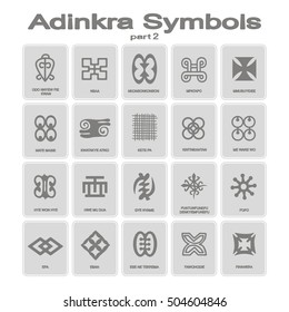 set of monochrome icons with adinkra symbols (part 2)