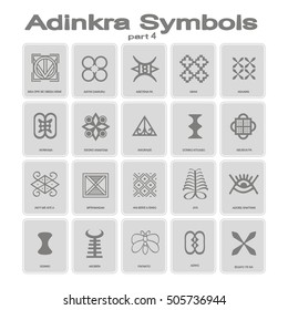 set of monochrome icons with adinkra symbols (part 4)