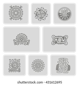 Set of monochrome icons with American Indians art and ethnic ornaments