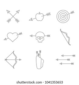 set of monochrome icons with archery for your design