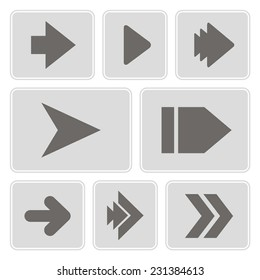 set of monochrome icons with arrow symbols for your design