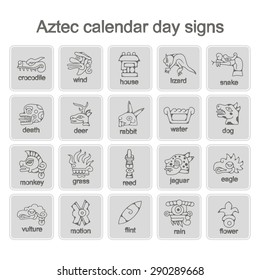 set of monochrome icons with Aztec calendar Day signs for your design