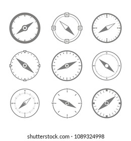 Set of monochrome icons with compass for your design