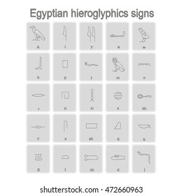 Set of monochrome icons with egyptian hieroglyphics signs for your design