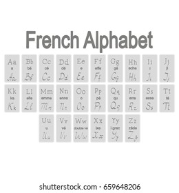Set of monochrome icons with French Alphabet for your design