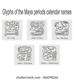 set of monochrome icons with glyphs of the Maya periods calendar names for your design