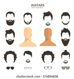 Set of monochrome icons. Hairstyle and beards.