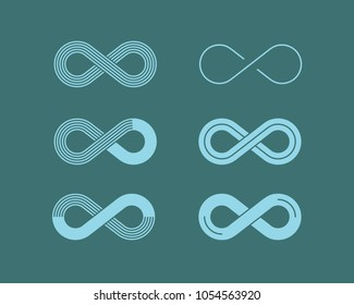 Set of monochrome icons with Infinity symbols. Blue contours of different shapes, thickness and style Isolated on background. Symbol of repetition and unlimited cyclicity.