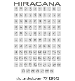 Set of monochrome icons with japanese alphabet hiragana for your design