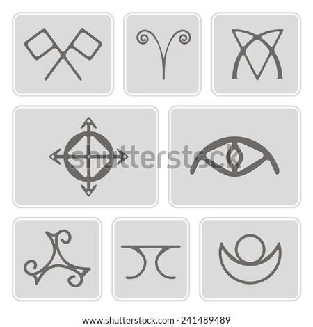 Set Monochrome Icons Magical Symbols Elves Stock Vector Royalty