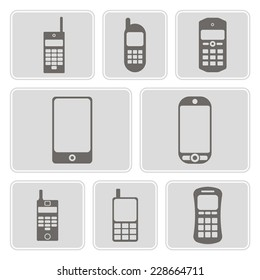 set of monochrome icons with mobile phones for your design