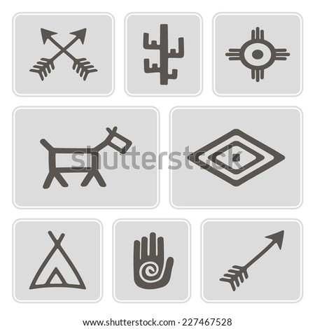 Set Monochrome Icons Native American Symbols Stock Vector Royalty