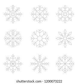 Set of monochrome icons with snowflakes for your design