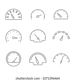 Set of monochrome icons with speedometers for your design