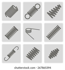 set of monochrome icons with Springs  for your design
