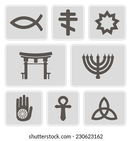 set of monochrome icons with symbols of religion for your design