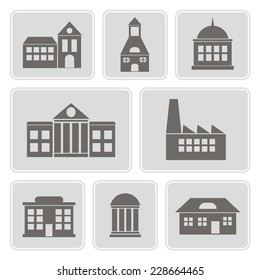 set of monochrome icons with various city buildings for your design
